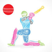 Creative abstract cricket player — Stock Vector