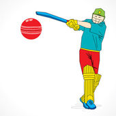 Cricket player hit the ball — Stock Vector