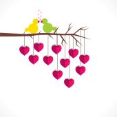 Branch with hearts and birds — Stock Vector