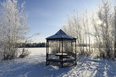 Summerhouse on the shore of a frozen lake in winter — Stock Photo