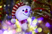 Fairytale Christmas composition with snowman and Christmas decor — Zdjęcie stockowe