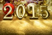 Fairytale New year composition with gold numbers 2015 year — Stock Photo