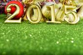 Fairytale New year composition with gold numbers 2015 year — Zdjęcie stockowe