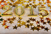 New year composition of golden numbers 2015 — Stock Photo
