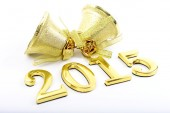 Gold figures of the new 2015 year on a white background — Stock Photo