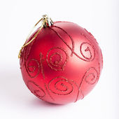 Beautiful Christmas red ball on a white background — Stock Photo