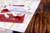Travel concept with money documents and map — Stock Photo