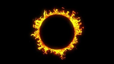 Beautiful Ring of Fire Looped. HD 1080. Alpha channel. — Stock Video