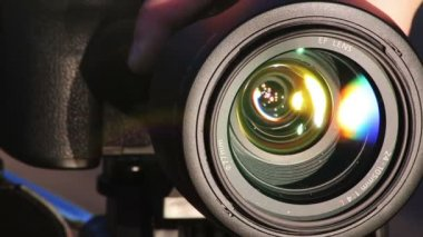 Zooming Lens. Close-up shot of professional camera. HD 1080. — Stock Video