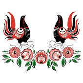 Vector bird folklore Gorodets 2 — Stock Vector