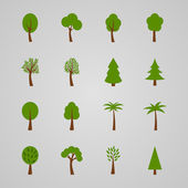 Set of tree icons, vector illustration — Stock Vector