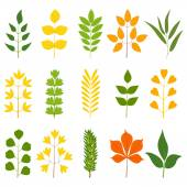 Set of colorful leaves, vector illustration — Vecteur
