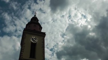 Church and Clouds Time Lapse — Stock Video