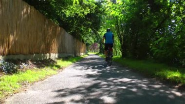 Riding a Bike in Nature — Stok video