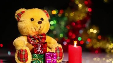 Bear Toy and Candles — Stock Video
