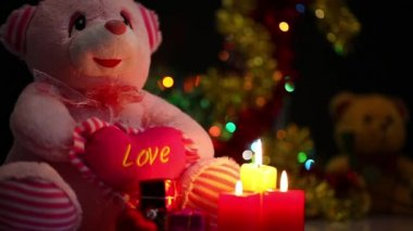 Bear Toy and Candles — Vídeo de stock