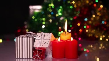 Gift Box and Candles — Video Stock
