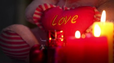 Love Heart and Candles — Vídeo de Stock