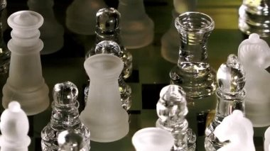 Chess Made of Glass — Stockvideo