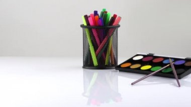 Colorful Paint Pen Equipment Tools  and Paint — Stock Video