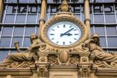 Ancient Clock in Frankfurt Bahnhof — Stock Photo