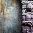 Knight Protectors Stone Statues and Cracked Grunge Wall Background — Stock Photo #77944526