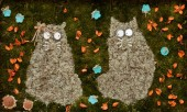 Panels of plants depicting two cats — Stock Photo