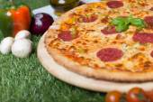 Baked Italian pizza with cheese, vegetables, meat and herbs on the grass — Stock Photo