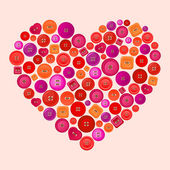 Vector heart made of colorful buttons — Stock Vector