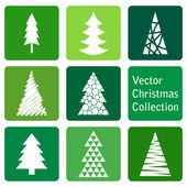 Vector collection: christmas and new year spruce icons — Stock Vector
