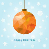 Vector new year and christmas greeting card with polygonal ball — Stock Vector