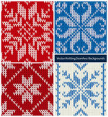 Vector collection of seamless knitted patterns — Stockvector