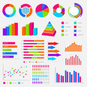 Big collection of colorful vector diagrams and charts — 图库矢量图片