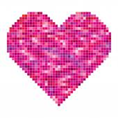 Vector heart made of pixels — Stockvector