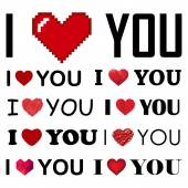 Vector collection of I love you inscreaptions with hearts — Stock Vector