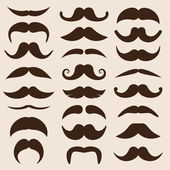 Set of vector moustaches in retro style — Stock Vector