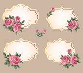 Collection of vector frames with roses in retro style — Stock Vector
