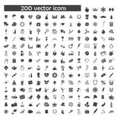 Big vector set of 200 object icons — Stock Vector
