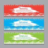 Colorful horizontal banners with square motive — Stock Vector