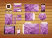 Geometric purple brand identity business style retro — Stock Vector
