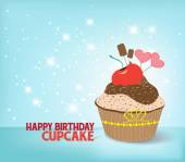 Birthday cupcake against a cyan background — Stock Vector