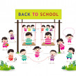 Back to school funny playing — Stock Vector #52424887