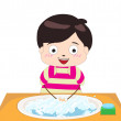 Little boy washing his hands — Stock Vector #52425407