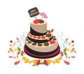Happy birthday cupcake and florals — Cтоковый вектор