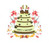 Happy birthday cupcake and florals — Stock Vector