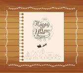 Christmas and new year hand draw lettering card — Stock Vector
