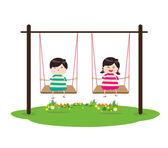 Děti na houpačce — Stock vektor