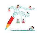 Back to school with pencil — Stok Vektör