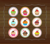 Cute cubcakes tags — Stock Vector