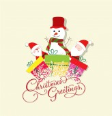 Christmas Card with Santa Claus, snowman and gift — ストックベクタ